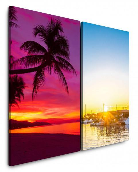 2 Bilder je 60x90cm Palme Südsee Strand Paradies Sonnenuntergang Meer Karibik