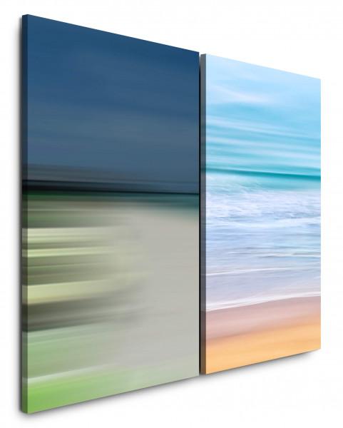 2 Bilder je 60x90cm Wellen Meer Strand Minimal Abstrakt Pastellfarben Sanftmut