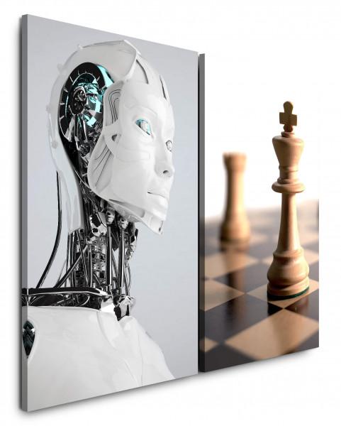 2 Bilder je 60x90cm Schach Roboter Science Fiction Technik Zukunft Schachfigur