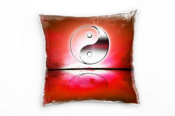 Yin und Yang Rot Deko Kissen