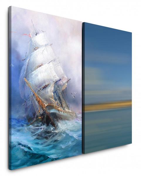 2 Bilder je 60x90cm Segelschiff Sturm Wellen Meer Horizont Blau Karavelle