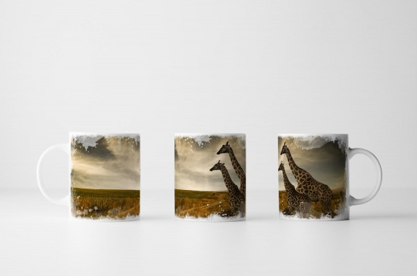 Tasse Zwei Giraffen in der Landschaft