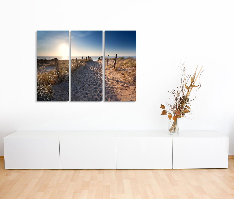 Leinwandbild Strandzugang an Ostsee und Nordsee über Düne