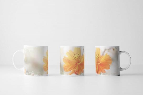 Tasse Orange Frühlingsblumen