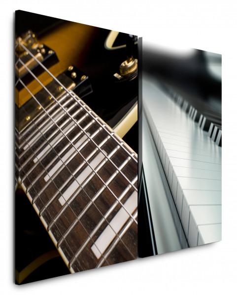 2 Bilder je 60x90cm Gitarre Gitarrensaiten Musik Piano Klavier Klaviertasten Nahaufnahme