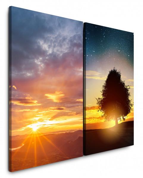 2 Wandbilderje 60x90cm Horizont Sonne Baum Sonnenuntergang Nachthimmel Sterne Sternenhimmel