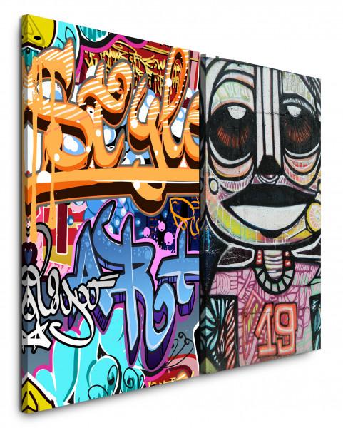 2 Bilder je 60x90cm Streetart Graffiti Tags Cool Jugendzimmer HipHop Bunt
