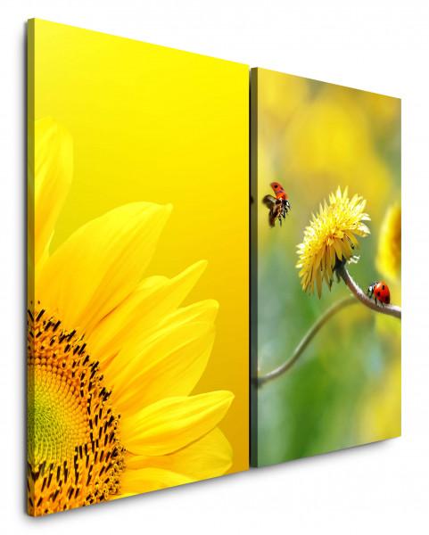 2 Bilder je 60x90cm Sonnenblume Gelb Löwenzahn Marienkäfer Makro Sommer Warm