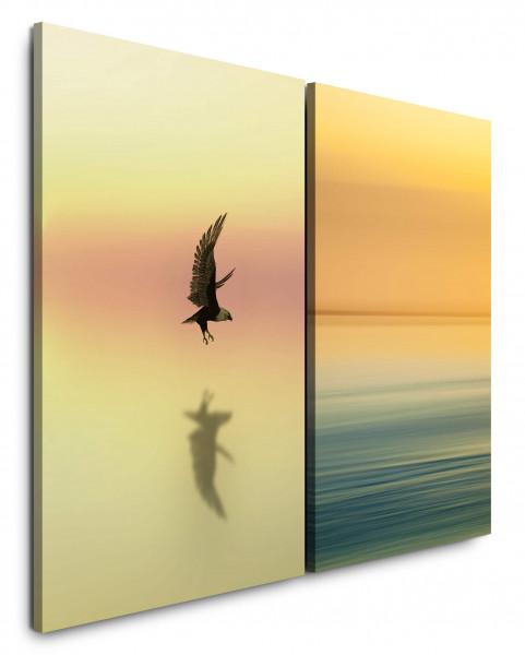 2 Bilder je 60x90cm Horizont Orange Weißkopfseeadler Adler Majestätisch Wasser Freiheit