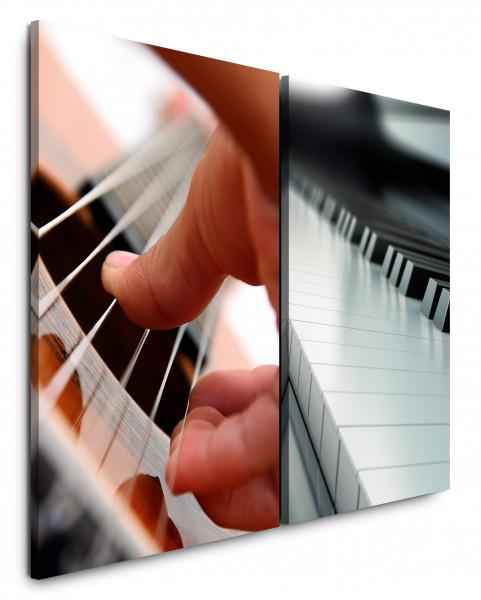 2 Wandbilderje 60x90cm Klavier Musik Klaviertasten Gitarre Nahaufnahme Musiker Studio