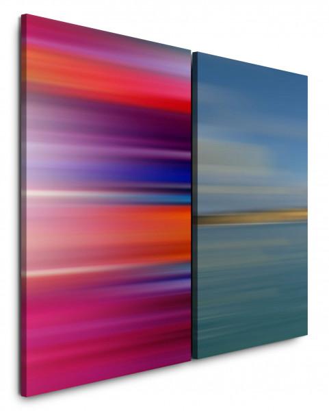 2 Bilder je 60x90cm Rot Horizont Blau Türkis Minimal Modern Farbenfroh