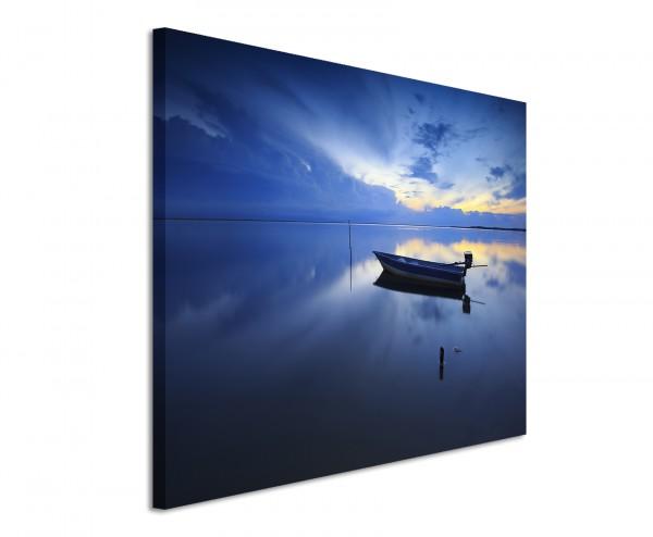 Leinwandbild Sonnenuntergang über einem See mit Boot