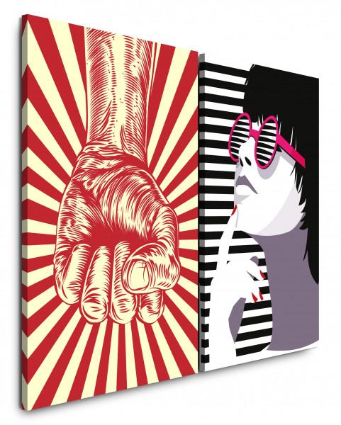 2 Bilder je 60x90cm Pop Art Revolution Faust Sommer Frau Sommer
