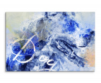 Hechelnder Hund als Premium Leinwandbild