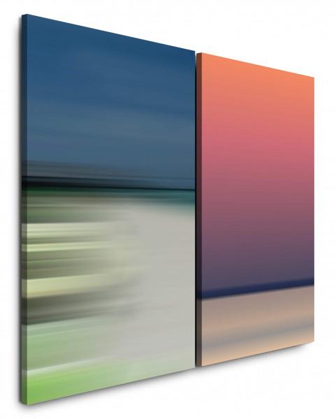 2 Bilder je 60x90cm Purpur Horizont Pastelltöne Abstrakt sanfte Töne Weite