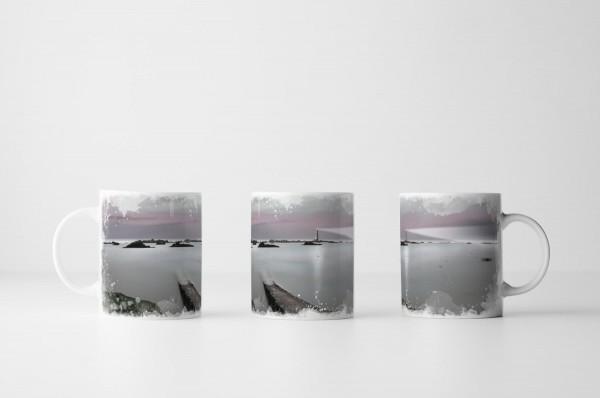 Tasse Leuchtturm im Nebelmeer