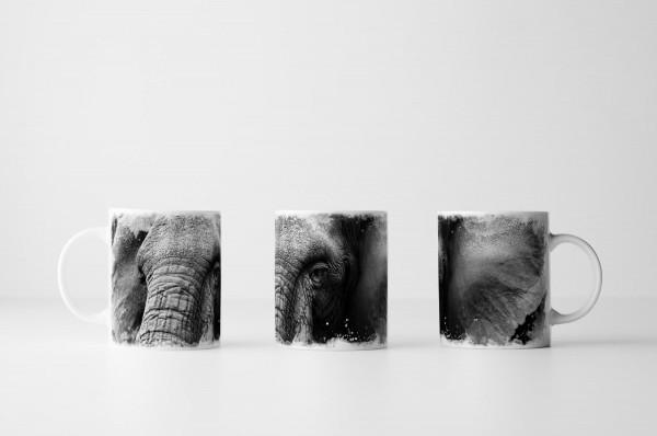Tasse Großer Elefantenkopf schwarz weiß