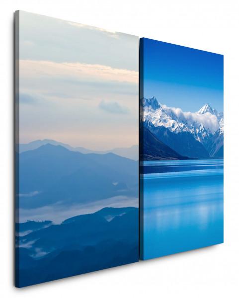 2 Bilder je 60x90cm Berge Schnee Bergsee Berglandschaft Blau Kühl Wolken