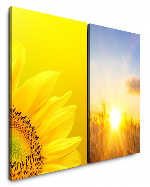 2 Bilder je 60x90cm Sonnenblume Gelb Weizenfeld Sommer Sonnenschein Sonne Himmel