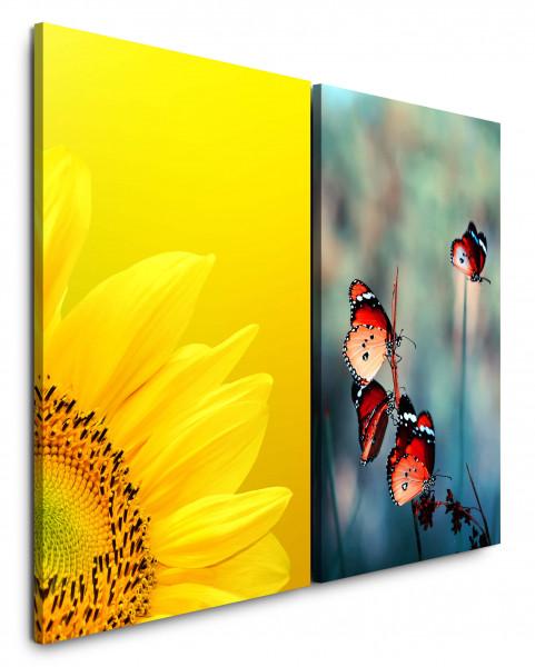 2 Bilder je 60x90cm Sonnenblume Gelb Schmetterlinge Sommer Nahaufnahme Frühling