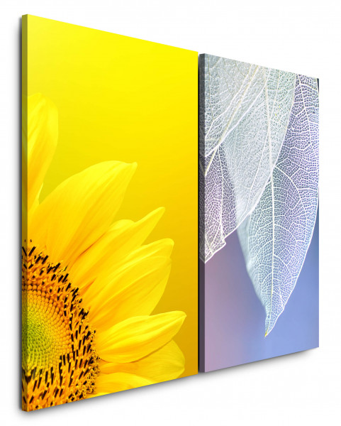 2 Wandbilderje 60x90cm Sonnenblume Gelb Weiße Blüten Blau Nahaufnahme Makrofotografie