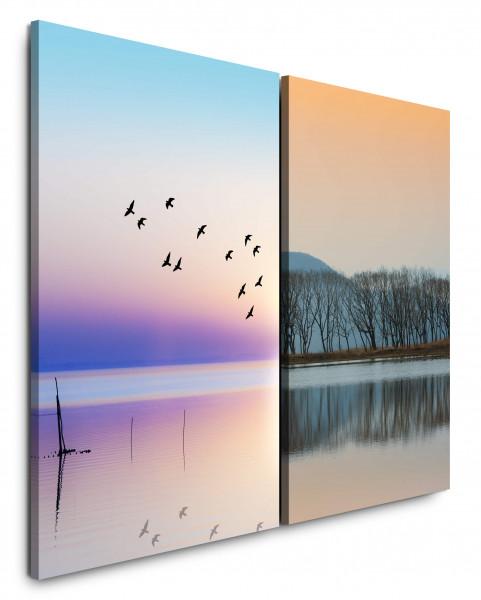 2 Bilder je 60x90cm Horizont Vögel Himmel See Bäume Himmel Sonnenuntergang