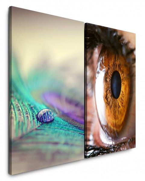 2 Wandbilderje 60x90cm Pfaufeder Wassertropfen Auge Iris Makro Nahaufnahme Makrofotografie