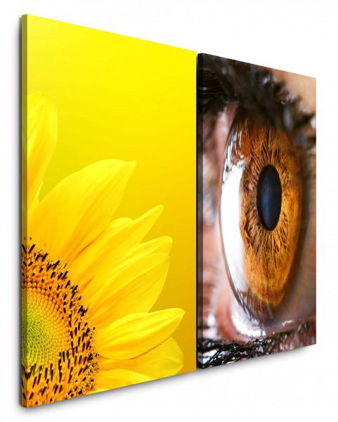 2 Bilder je 60x90cm Sonnenblume Gelb Auge Iris Nahaufnahme Großaufnahmen Seele