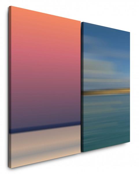 2 Bilder je 60x90cm Minimal Horizont Beruhigend Blautöne warme Farben Abend