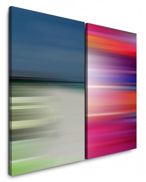 2 Bilder je 60x90cm Horizont Pastelltöne Rot Türkis Minimal Modern Stille