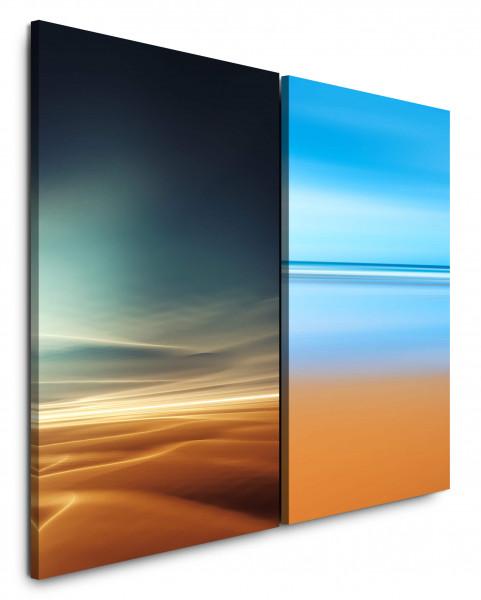 2 Bilder je 60x90cm Wüste Sahara Himmel Horizont Meer Modern Minimal