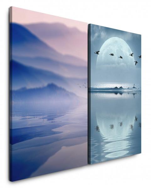 2 Bilder je 60x90cm Berge Mond Meer Vollmond Vögel Gänse Mystisch