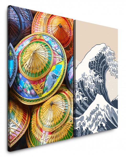 2 Bilder je 60x90cm Wellen Kanagawa Asiatisch Japan Sonnenschirme Katsushika Bunt
