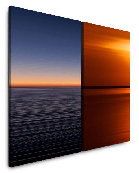 2 Bilder je 60x90cm Horizont Abendröte Sonne Abenddämmerung Abstrakt Rot Sonnenuntergang