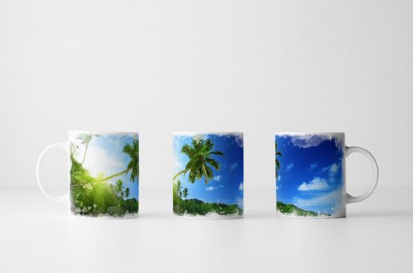 Tasse Sonniger Strand Mahe Insel Seychellen
