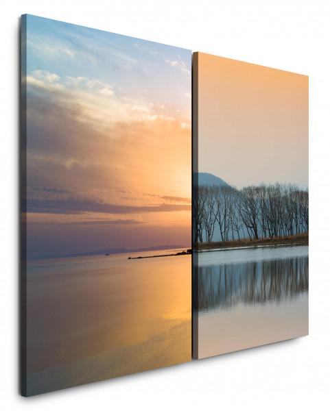 2 Bilder je 60x90cm Horizont Meer See Gold Sonnenuntergang Harmonie Bäume