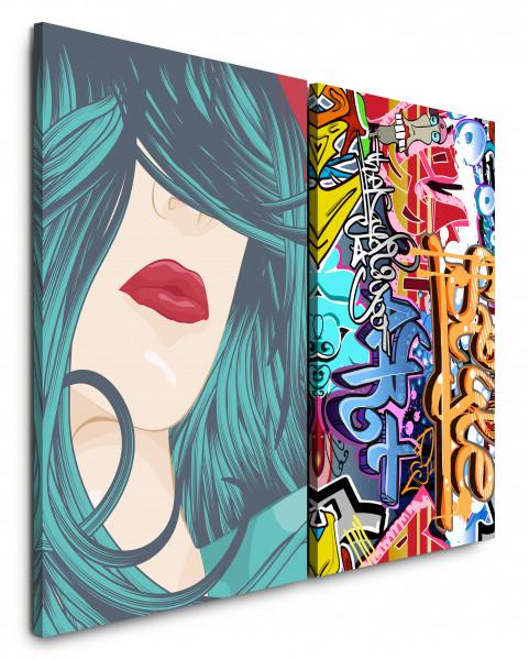 2 Bilder je 60x90cm Streetart Lippen Frau Rot PopArt Graffiti Modern