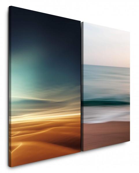 2 Bilder je 60x90cm Wüste Sahara Himmel Meer Strand Harmonie Wellen
