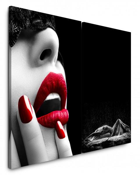 2 Bilder je 60x90cm Erotisch Lippen Rot Akt Verführerisch Schwarz Weiß
