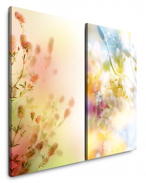 2 Bilder je 60x90cm Blumen Blüten Frühling Sommer Fotokunst Frühlingswiese Makrofotografie
