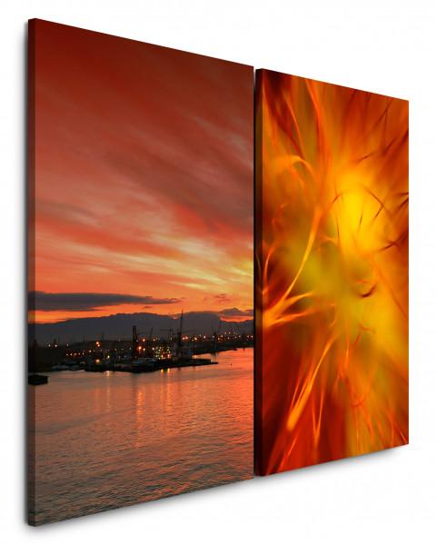 2 Bilder je 60x90cm Hafen Abendröte Sonnenuntergang Orange Meer Rot Himmel