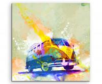 Leinwandbild Auto VW Bus T1 Splash Art