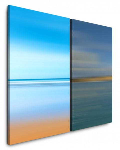 2 Bilder je 60x90cm Pastelltöne Blau Horizont Türkis Modern Dämmerung Beruhigend