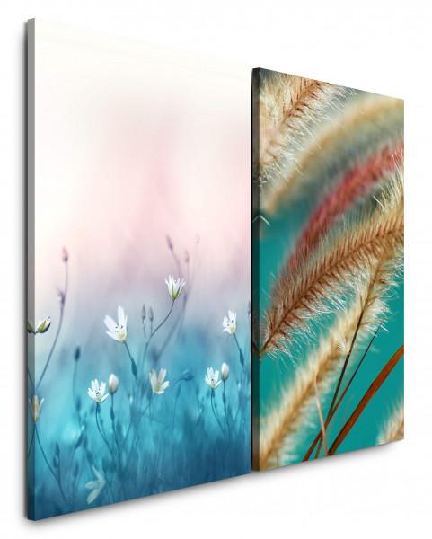 2 Bilder je 60x90cm Blumen Weiße Blüten Weizen Makro Frühling Blau