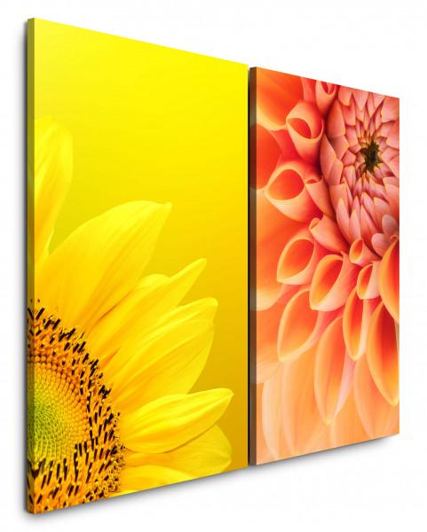 2 Bilder je 60x90cm Dahlie Sonnenblume Gelb Nahaufnahme Sommer Warm Blüte