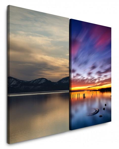 2 Bilder je 60x90cm Berge See Meer Sonnenuntergang Abendröte Horizont Wolkenhimmel