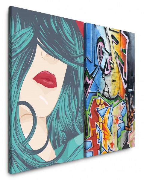 2 Bilder je 60x90cm PopArt StreetArt Graffiti Tags Bunt Jugend Lippen