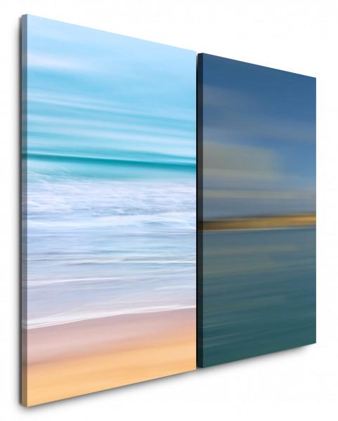 2 Bilder je 60x90cm Wellen Meer Strand Harmonisch Horizont Beruhigend Ferne