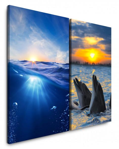 2 Wandbilderje 60x90cm Blaues Meer Paradies Südsee Delfine Sonnenuntergang Abendröte