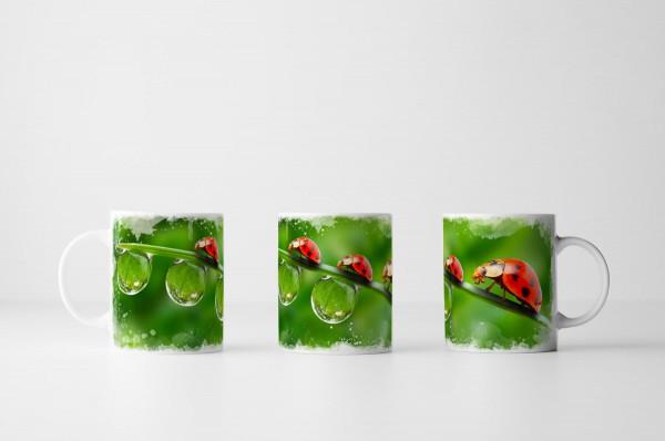 Tasse Zwei Marienkäfer mit Tautropfen